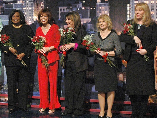 Jimmy Fallon's mother, Gloria, appeared on David Letterman's show in 2004 ahead of Mother's Day. From left: Tyra Banks' mother, Carolyn; Carson Daly's mother, Pattie; Gloria Fallon; Avril Lavigne's mother, Judy; and Liv Tyler's mother, Bebe.