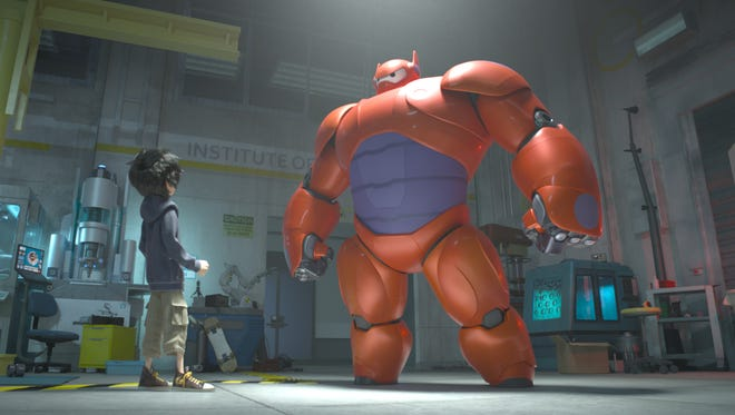 "Hiro Hamada transforms a marshmallow-like nursing robot named Baymax into a high-tech hero in the animated film ""Big Hero 6,"" in theaters Nov. 7."