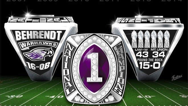 UW-Whitewater 2014 football championship ring