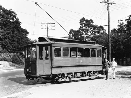 Lancaster Traction Company's famous No. 6 trolley car stops near the entrance of Forest Rose Cemetery, a turnaround point for trolley cars on Columbus Street. Stu Stallsmith, a longtime Lancaster Eagle-Gazette photographer, stands at the far right, wearing a light hat, in about 1937, the trolleys' last year. The car would later join the Ohio Historical Society's collection.