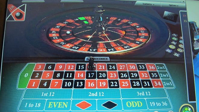 A computer screen in Atlantic City shows an Internet roulette game.