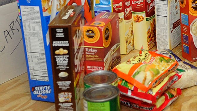 A collection of food items at the Fondy Food Pantry represent just a portion of what clients of the pantry can expect.