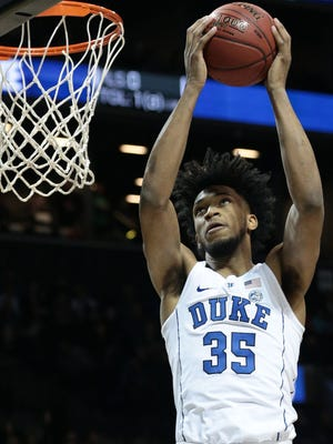 Duke Blue Devils forward Marvin Bagley III (35) puts up a shot against the Notre Dame Fighting Irish during the first half of a quarterfinals game of the 2018 ACC tournament at Barclays Center at Barclays Center.