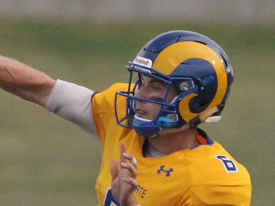 Angelo State sophomore quarterback Charlie Rotherham (6) got his first career start against Tarleton State. The Texans held off the Rams 30-24 in the Lone Star Conference opener for both teams at LeGrand Stadium at 1st Community Credit Union Field on Saturday, Sept. 16, 2017.