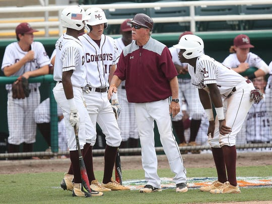 Madison County coach Terry Barrs talks to his players during a 3-2 loss to Trenton on Thursday in the Class 1A state championship in Fort Myers.