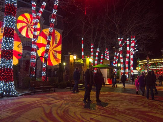 Peppermint Path in Gingerbread Junction at Six Flags Great Adventure during Holiday in the Park.