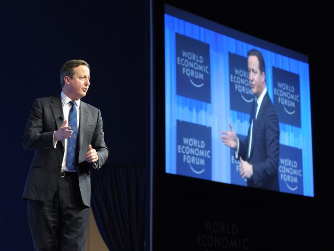 British Prime Minister David Cameron answers questions after his talk at The World Economic Forum on Jan. 24 in Davos, Switzerland.