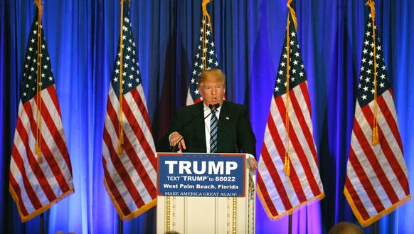 GOP front-runner Donald Trump addresses the media during