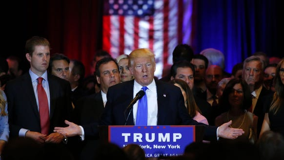 Donald Trump speaks at Trump Tower in New York on April