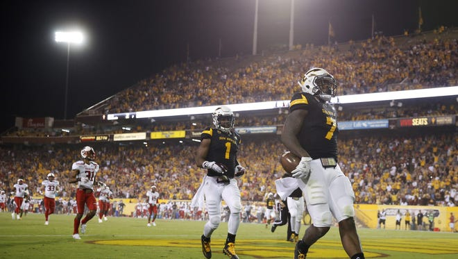 ASU running back Kalen Ballage (7) runs 75-yards for a touchdown against Texas Tech during the 4th quarter at Sun Devil Stadium in Tempe, Ariz. September 10, 2016. Michael Chow/azcentral.com It was his eight touchdown of the night.