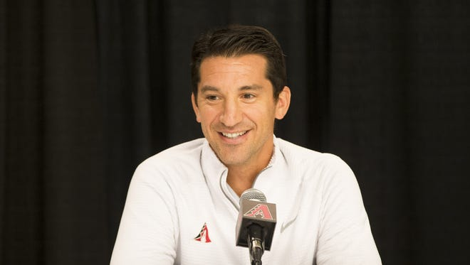 Arizona Diamondbacks general manager Mike Hazen talks to the media at Chase Field in Phoenix, Ariz. October 10, 2017. The Diamondbacks lost 3-1 to the Los Angeles Dodgers in game 3 of the NLDS, ending their season.
