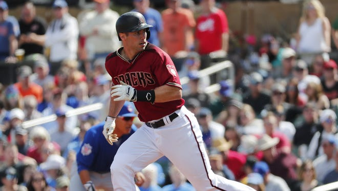 Arizona Diamondbacks first baseman Paul Goldschmidt (44) breaks for second base during a spring training game against the Chicago Cubs at Salt River Fields at Talking Stick March 4, 2018.