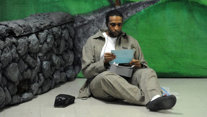 Joseph Sims, as Red, performs Tuesday during a performance of Shawshank Redemption at the Ross Correctional Institution.