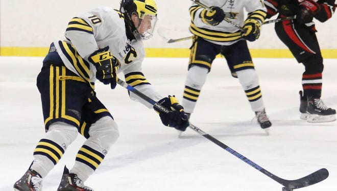 Jake Behnke scored two of Hartland's goals in a 3-3 tie with Livonia Churchill, including the game-tying goal with 5;53 left in the third period.