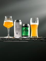 Two examples of a New England-style IPA, Trillium (Boston) Melcher Street IPA and Upstate (Horseheads) Double IPA. New England-style is very cloudy, hazy, and juicy. No brewery in Rochester currently makes this sought-after style.