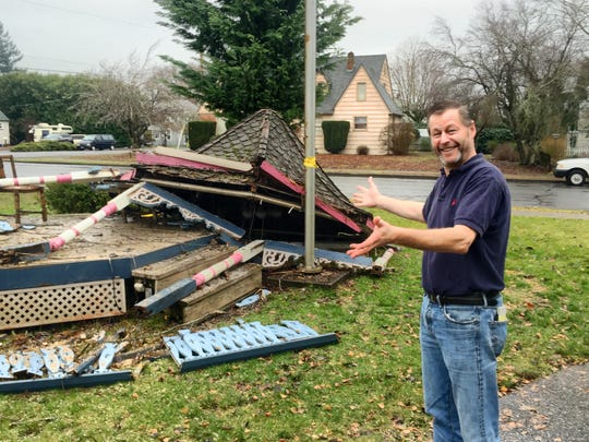 The first inclement weather combination of the year fell a long-standing maple tree, which in turn took out a 1976 Oregon State Fair landscape expo prize-winning gazebo on the grounds of Stayton's Gardner House. Proprietor James Loftus, pictured, said he was relieved the tree fell toward the gazebo and not the 1898 home/cafe and bed and breakfast.