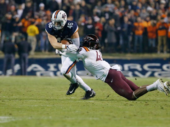 Virginia Cavaliers tight end Evan Butts (46) catches