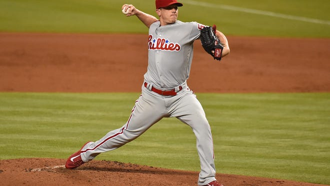 Philadelphia Phillies starting pitcher Jeremy Hellickson delivers a pitch Monday against the Miami Marlins at Marlins Park. Despite being a candidate to get traded, Hellickson is still scheduled to start Saturday against the Braves.