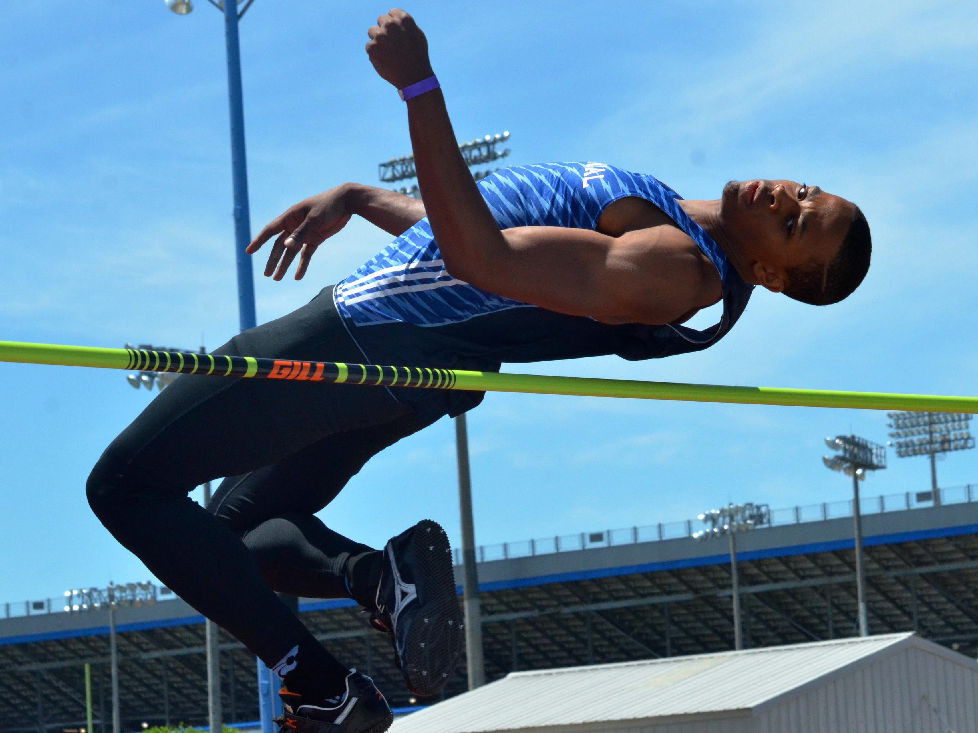 Centennial's Emanuel Hall set a personal record by clearing 6 feet, 10 inches in the Class AAA high jump.