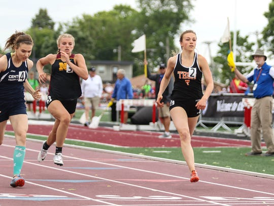 Jodi Lipp of St. Cloud Tech competes in the 100-meter