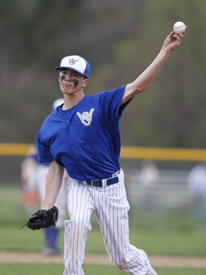 Webster Schroeder senior Corey Marshall, shown pitching here, was named a Monroe County league all-star after he hit .386 last season.