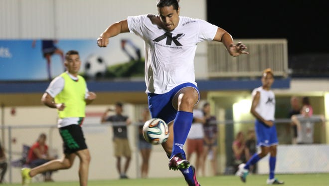 Rapa Nui's Lynn Rapu Tuki leaps to control the ball in front of the goal against the Rovers FC in a friendly match at Guam Football Association National Training Center Wednesday. Rovers FC defeated Rapa Nui 9-4.