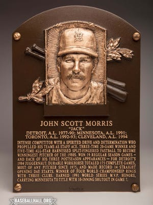 The Hall of Fame plaque for former Tigers ace Jack Morris.