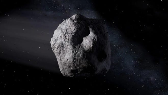 Artist's conception of a near-Earth object. An asteroid, discovered Saturday morning, disintegrated over Africa on Saturday evening.