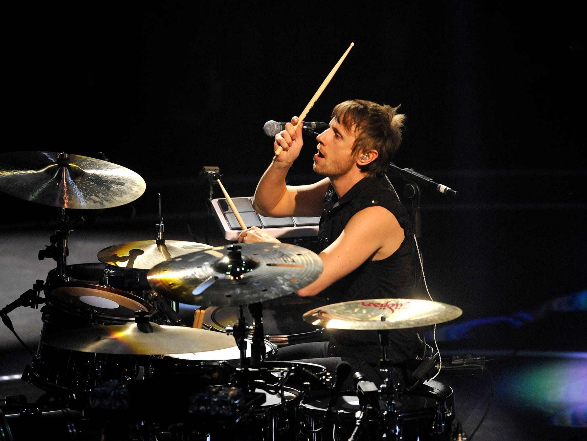 Drummer Dominic Howard of Muse performs at Joe Louis