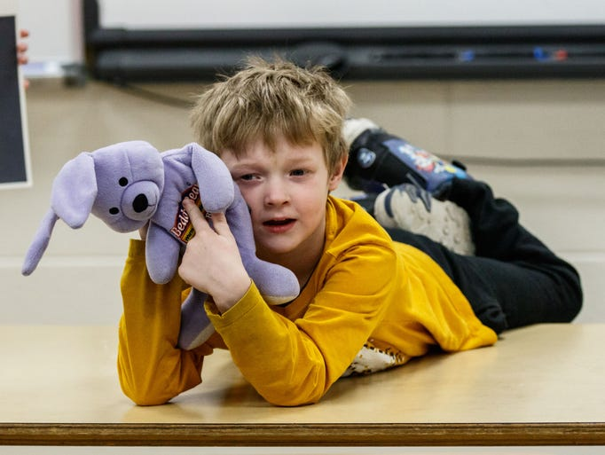 Six-year-old Parker Mahlfan of Waukesha gives a presentation