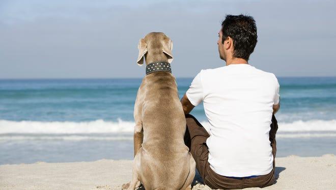 Man and dog sitting on beach.