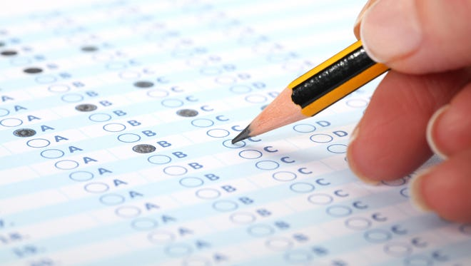 Person takes a test.