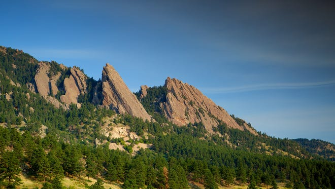 Side view of the Flatirons in Boulder Colorado