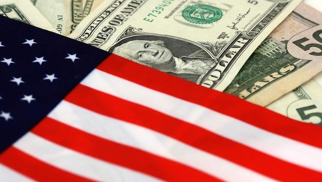 The US flag on United States dollar bills