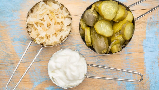 sauerkraut, cucumber pickles and yogurt - popular probiotic fermented food - three measuring cups against rustic wood