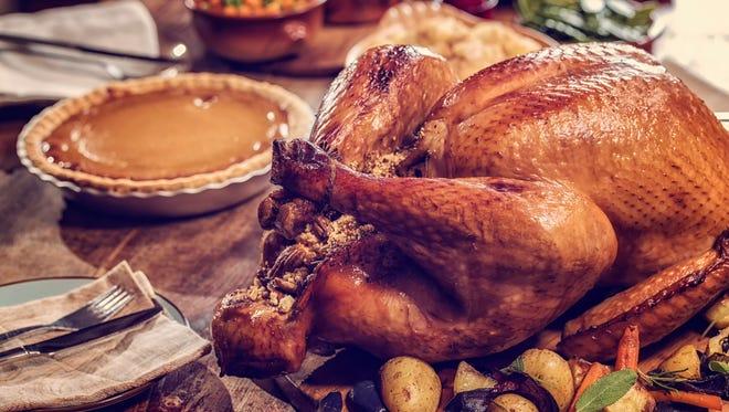 Roasted turkey and pumpkin pie.