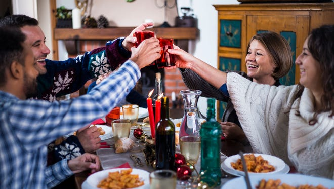 Celebrating with wine.