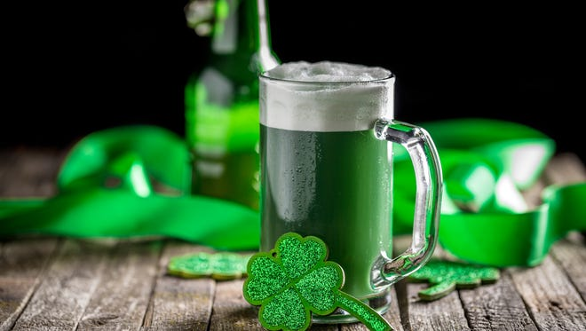 St Patrick's Day concept green beer with shamrock