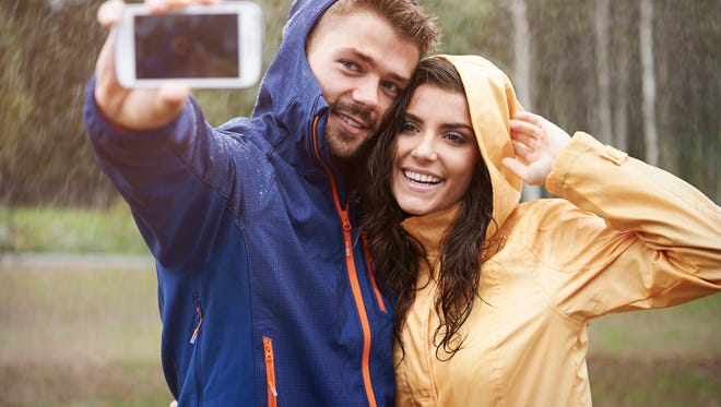 Let's taking selfie in this rainy day