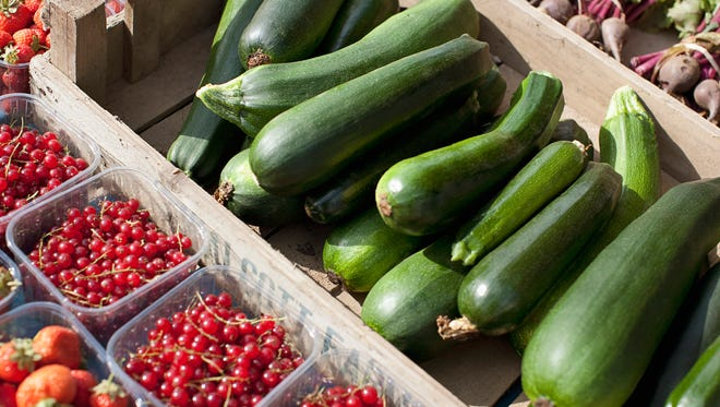 Fresh fruit and vegetables at farmers market