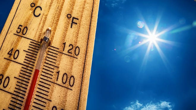 The heat index could hit 100 in Lansing on Sunday, the National Weather Service said.