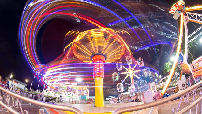 Luna Park with light painting effect long exposure