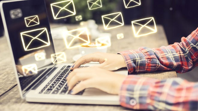 Email concept with laptop, letter to the editor