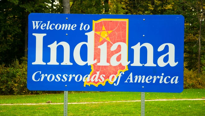 """Welcome to Indiana, Crossroads of America"" sign."