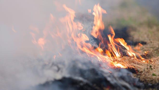 Fire and smoke.