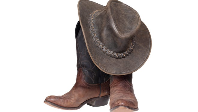 A cowboy hat and boots.