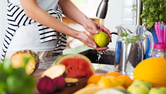 Wash all fruits and vegetables that cannot be peeled,