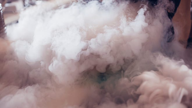 Dry ice is a solid form of carbon dioxide that turns to gas when exposed to air. It can cause asphyxiation.