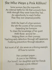 A poem by Suzy Toronto is a favorite inspirational read for those involved in the Ribbon of Hope.