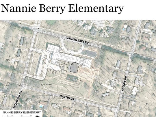 This schematic site plan shows the new addition at Nannie Berry Elementary School in Hendersonville.